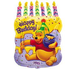 Pooh Happy Birthday Cake Super Shape Mylar Balloon 61612L