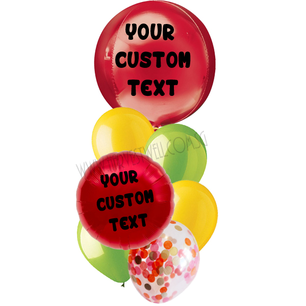 Personalised Red Apple Theme Balloon Bouquet