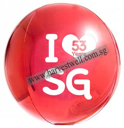 Customize National Day SG53 Red ORBZ Balloon