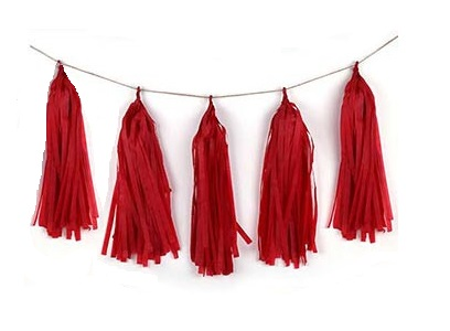 Red Tissue Tassel Garland