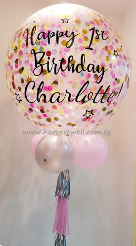 Star Around Pink Personalized Jumbo Helium Latex Balloon