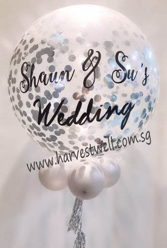 Personalized Jumbo Silver Wedding Helium Latex Balloon