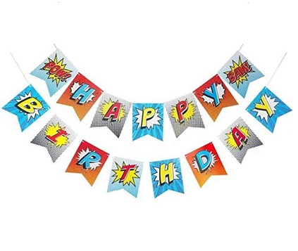 Super Hero Blast Birthday Jointed Banner