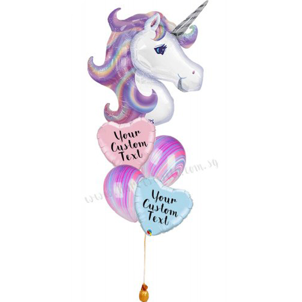 Personalised Pastel Unicorn Balloon Bouquet
