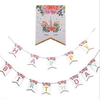 Unicorn Happy Birthday Card Jointed Banner
