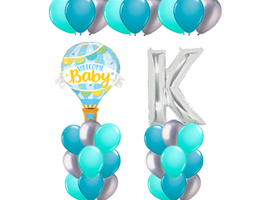 Welcome Baby Blue Hot Air Balloon Value Package