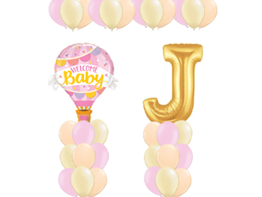 Welcome Baby Pink Hot Air Balloon Value Package