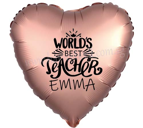 "Customize Print World Best Teacher on 18"" Foil Balloon"