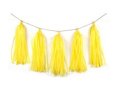 Yellow Tissue Tassel Garland