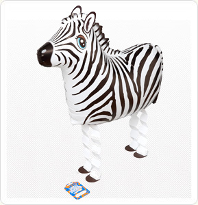 Walking Pet Animal Balloon - Zebra
