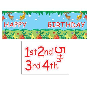 JUNGLE BUDDIES HAPPY BIRTHDAY PERSONALIZE BANNER