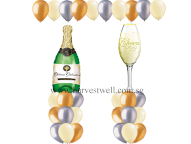 Champagne Glass and Bottle Balloon Value Package