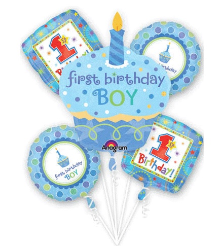 1st Birthday Boy Cupcake Balloon Package