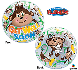 Get Well Soon Monkey Buble Balloon