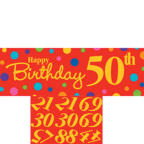 POLKA DOTS HAPPY BIRTHDAY PERSONALIZE GIANT BANNER