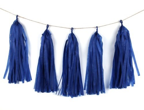 Dark Blue Tissue Tassel Garland