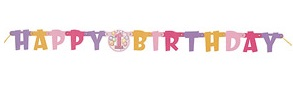 Happy 1st Birthday (Pink) Small Jointed Banner