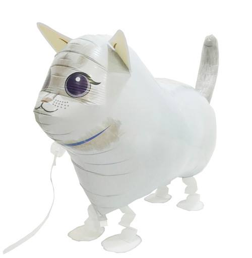 Walking Pet Animal Balloon - Cat (White)